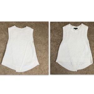 BR Small White Sleeveless Split Back Sweater Tank